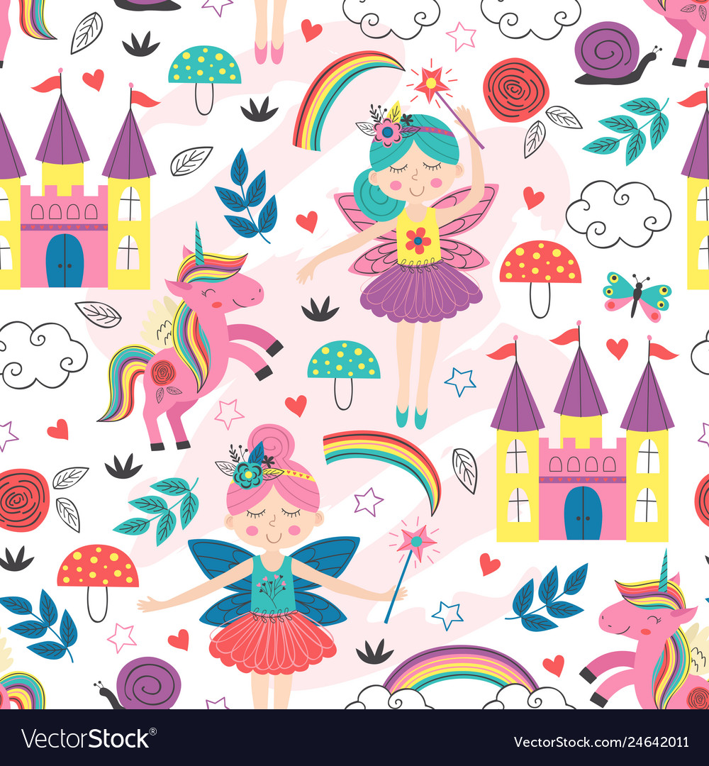 Seamless pattern with fairy characters