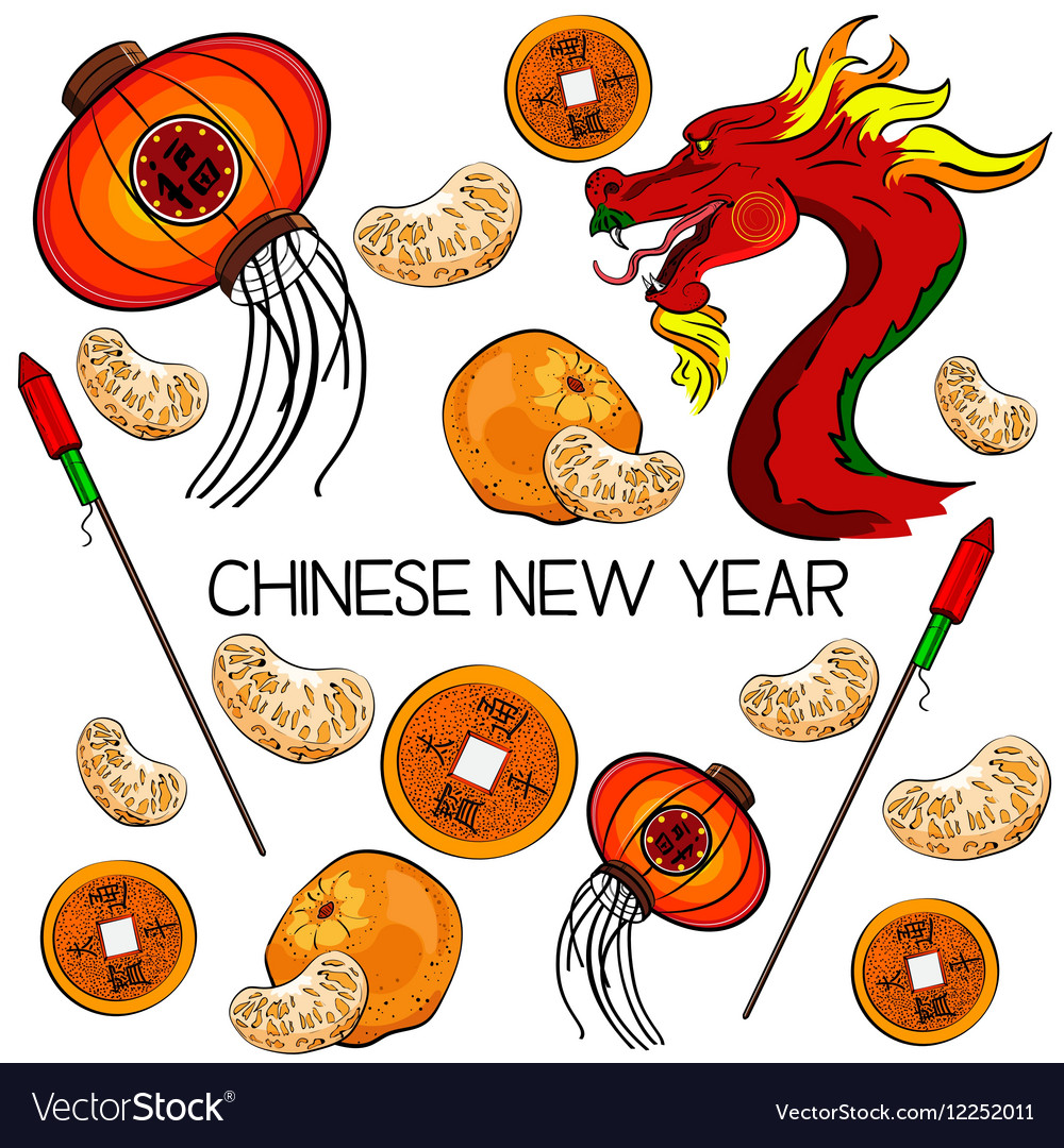 Traditional Symbols Of Chinese New Year Royalty Free Vector