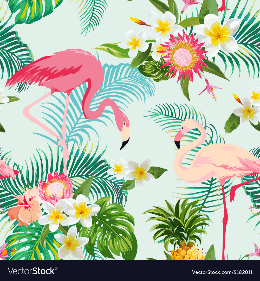 Vintage Style Tropical Bird And Flowers Background: Tropical Flowers And Birds Background Vintage Vector Image