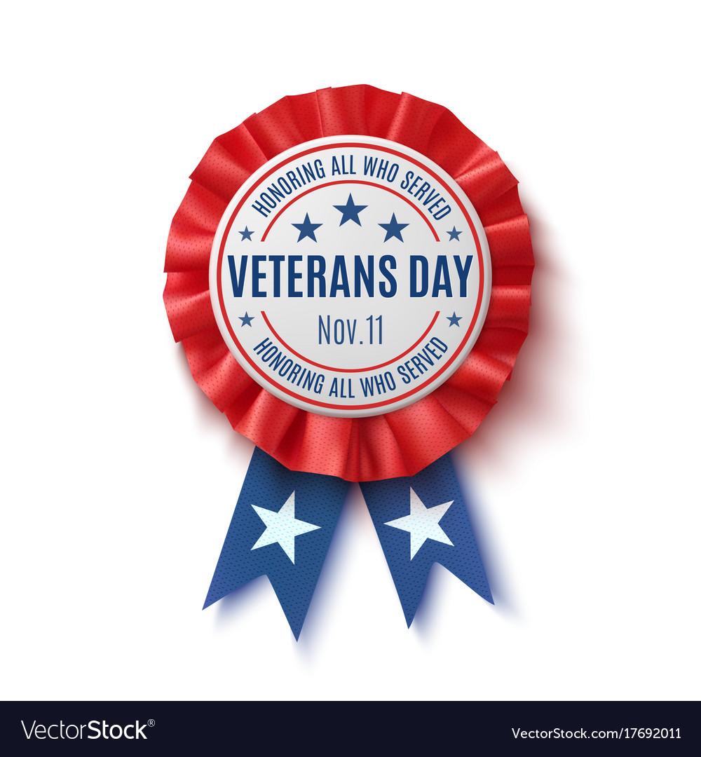 Veterans day badge realistic patriotic award
