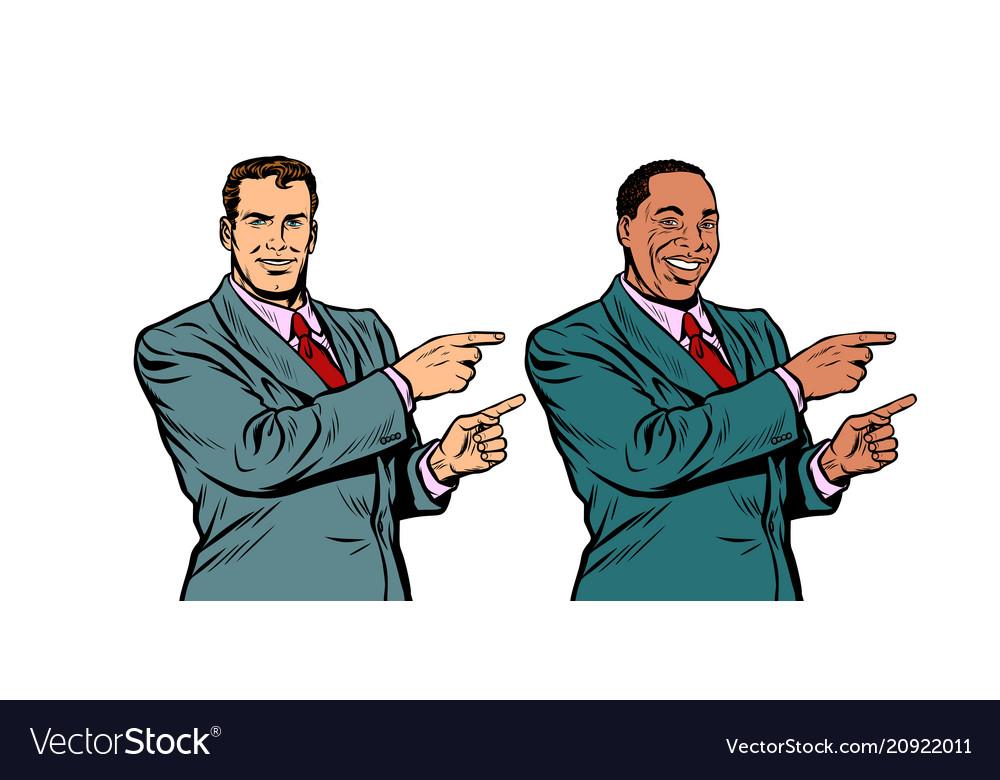 White and black businessman pointing finger