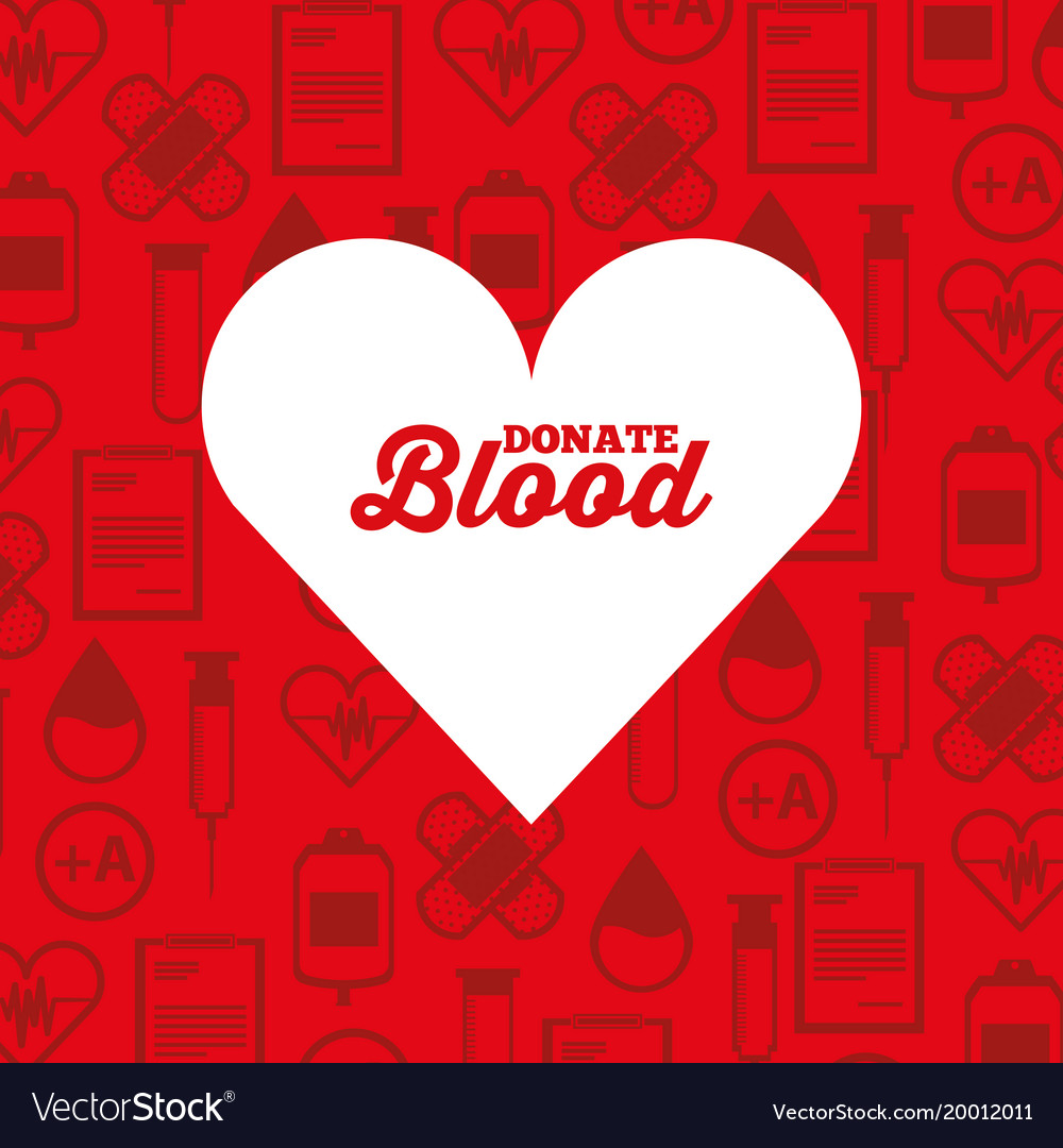 White silhouette heart donate blood medical icons vector image