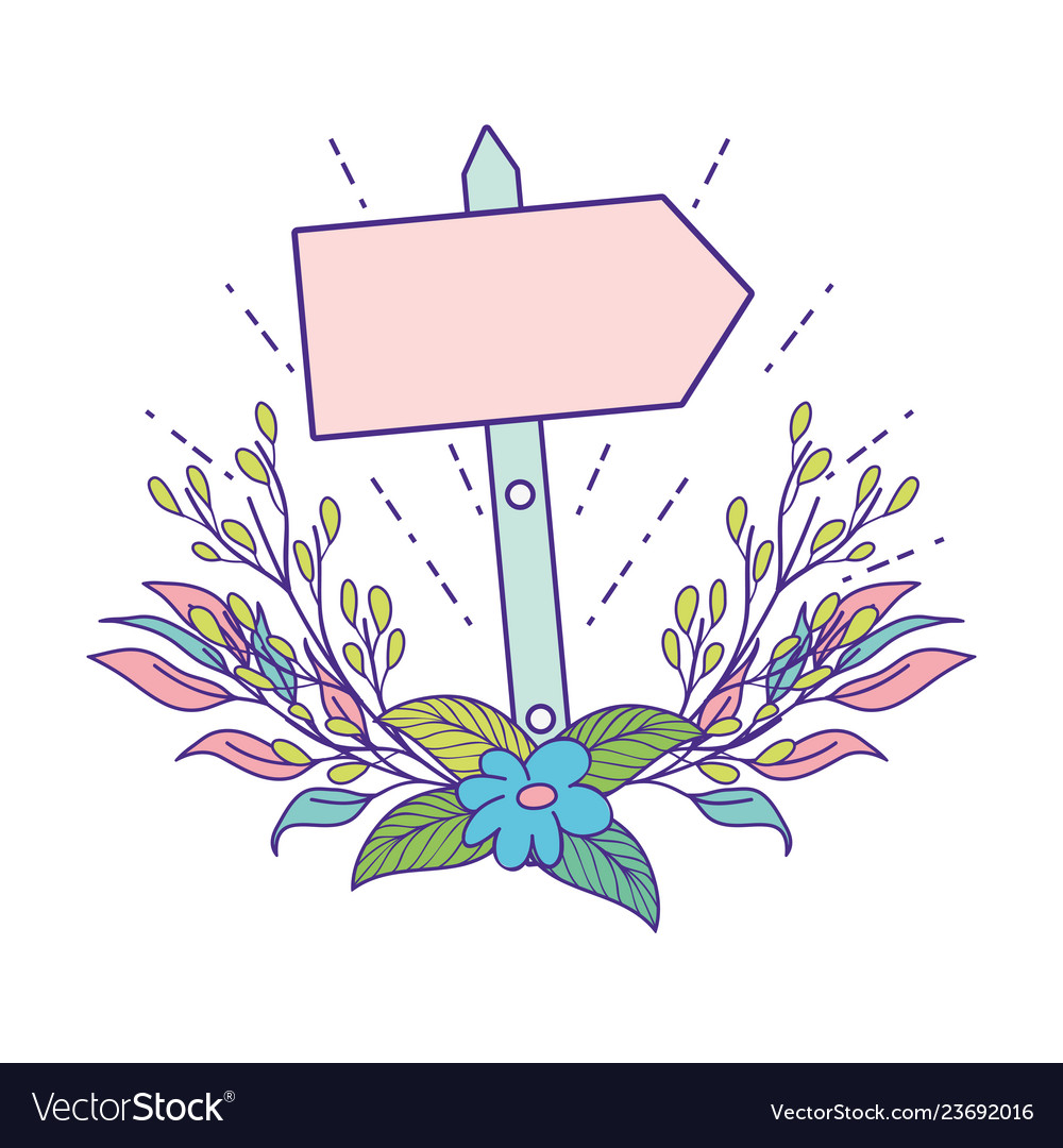 Cute Arrow Guide Wooden With Flowers Royalty Free Vector