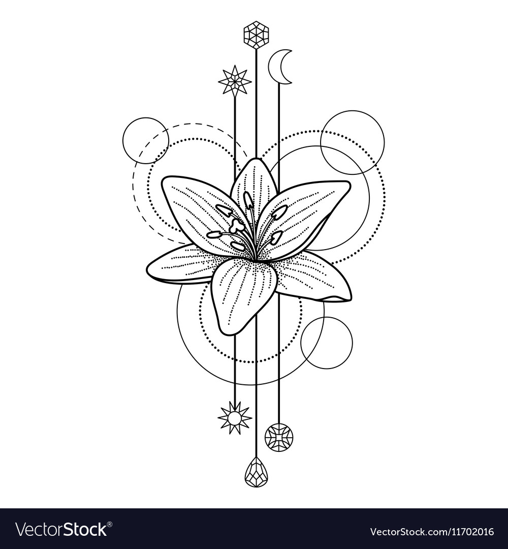 Floral Geometric Tattoo Vector Image On Vectorstock