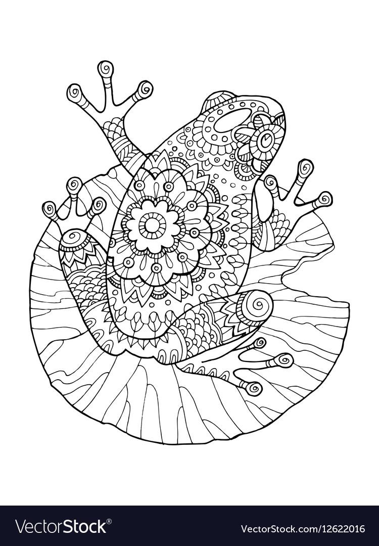 Frog Coloring Book Royalty Free Vector Image Vectorstock