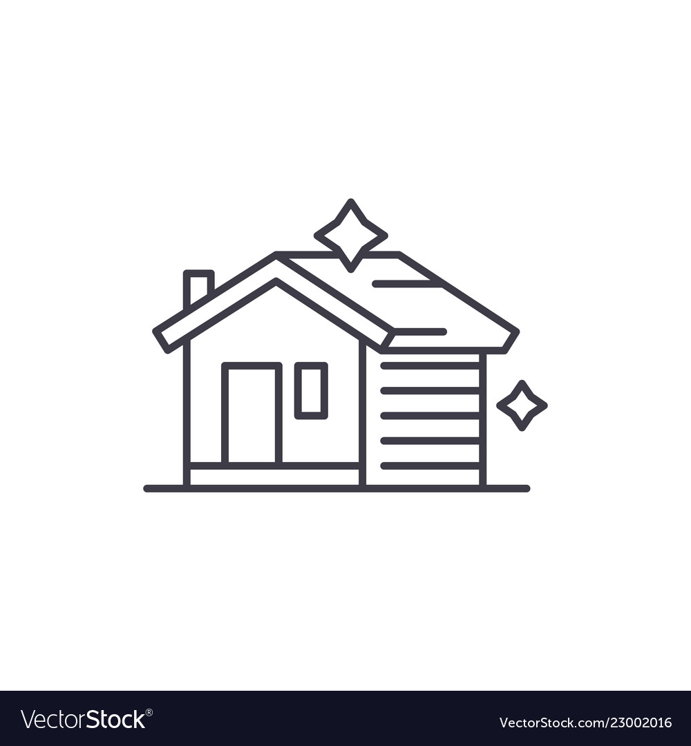 House cleaning line icon concept house cleaning