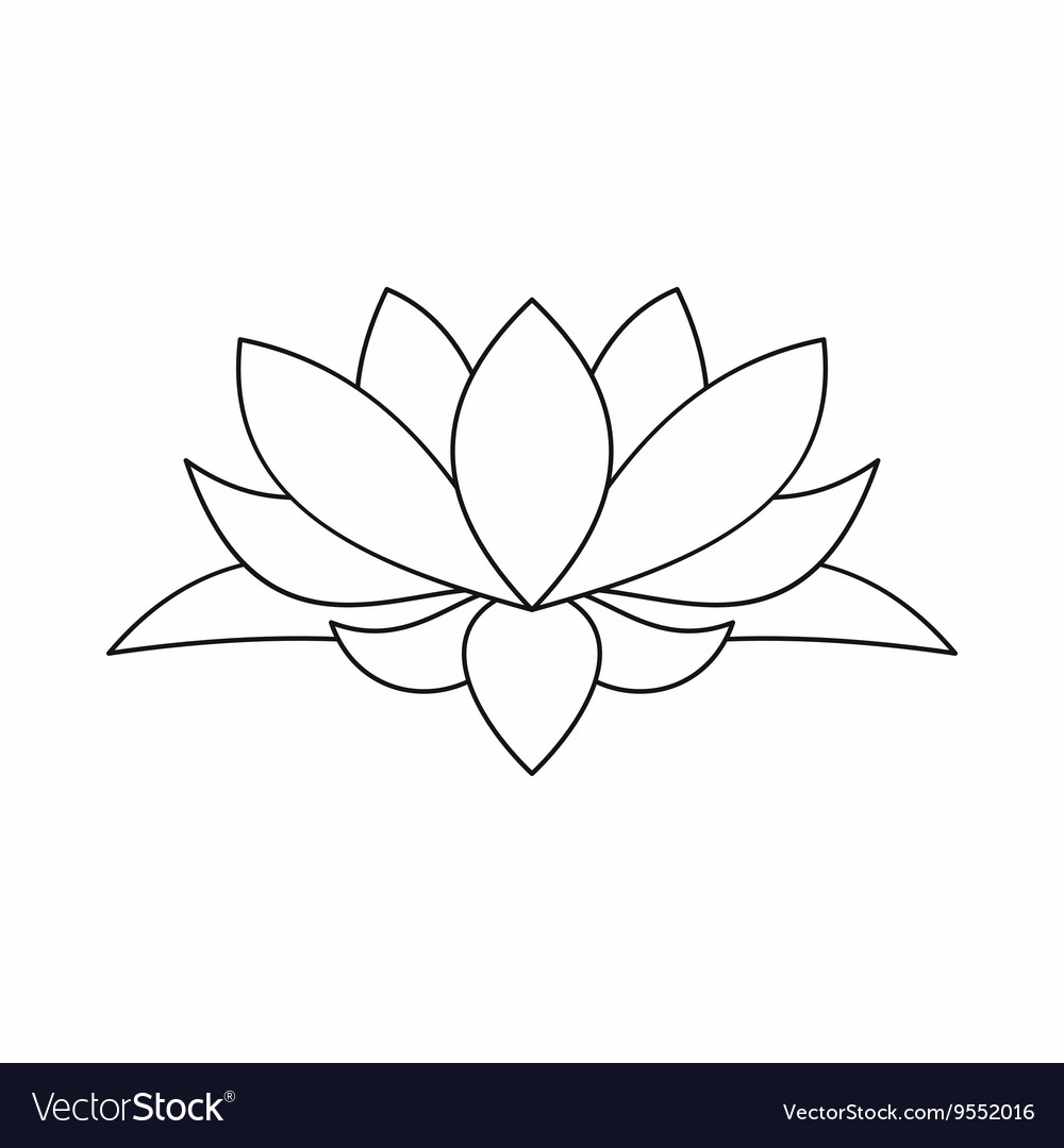 Lotus Flower Icon Outline Style Royalty Free Vector Image