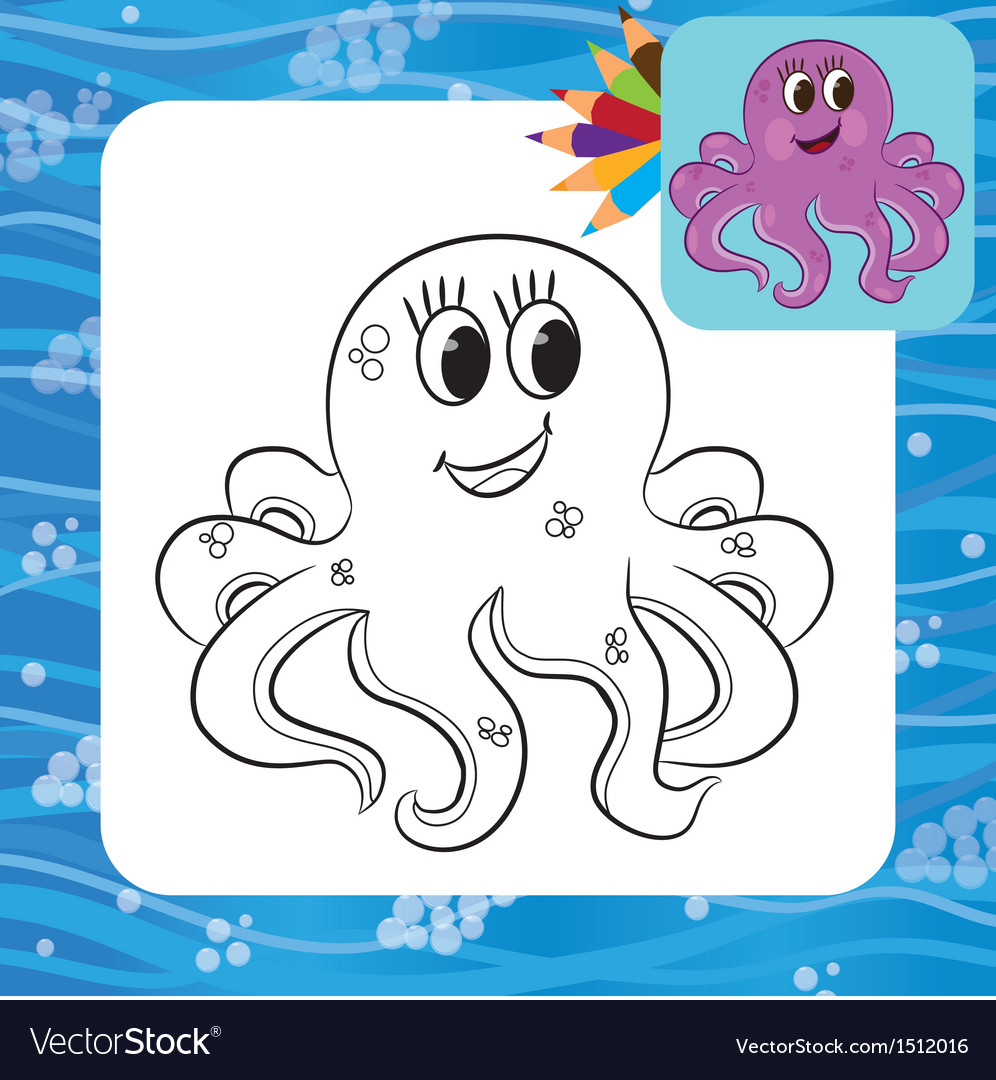 Octopus Coloring Page Royalty Free Vector Image