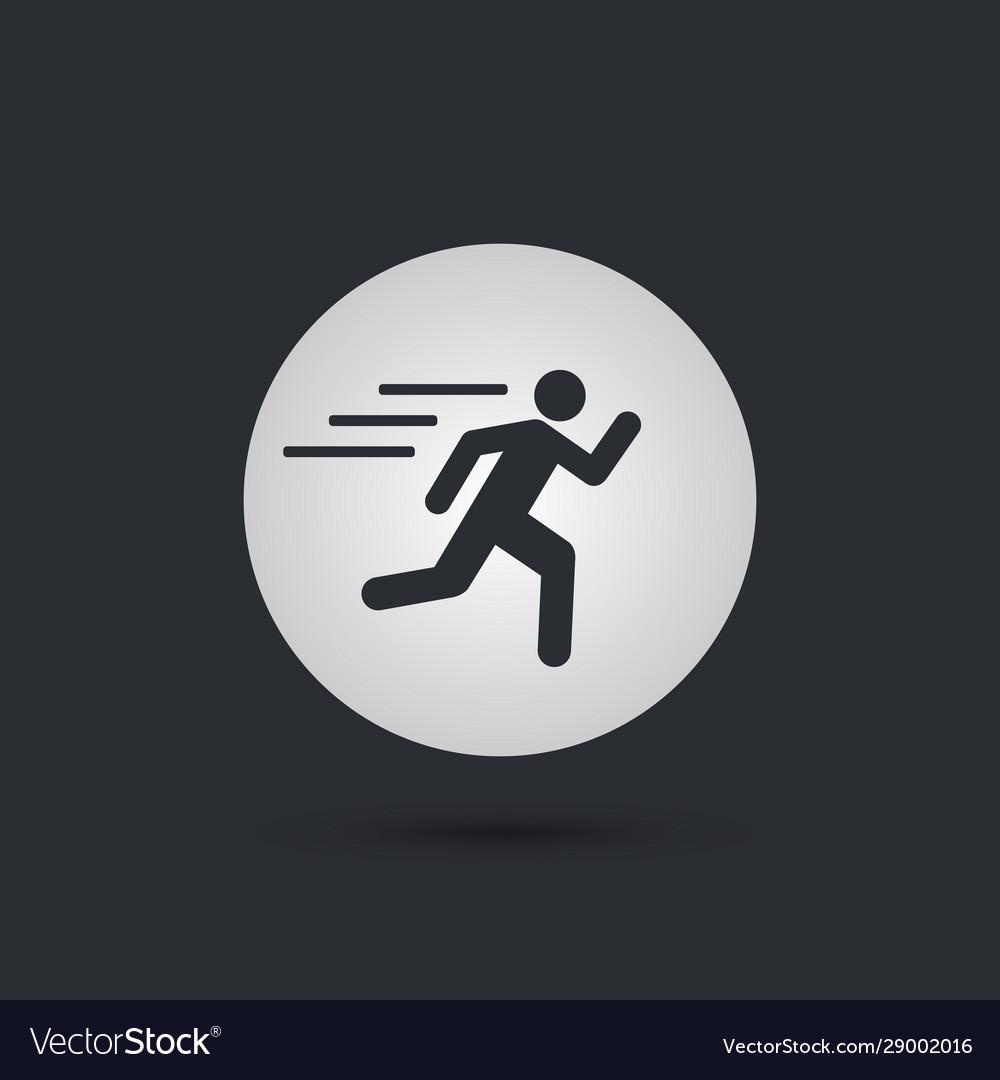 Runnin Man Circle Icon On Black Background Vector Image