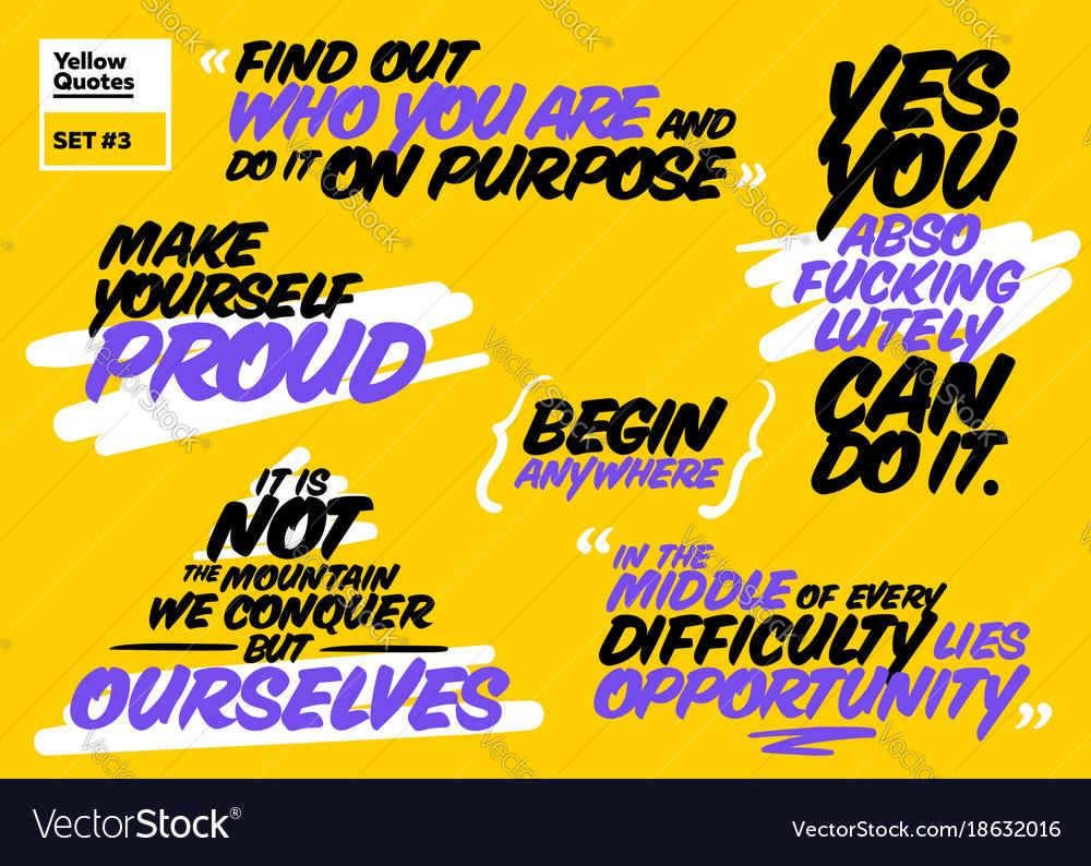 Set short motivational quotes inspiring cards
