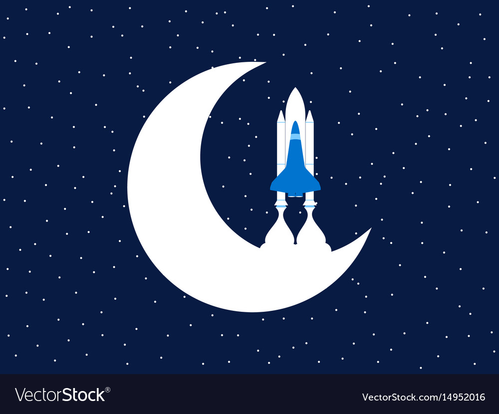 Space shuttle and moon outer space vector image