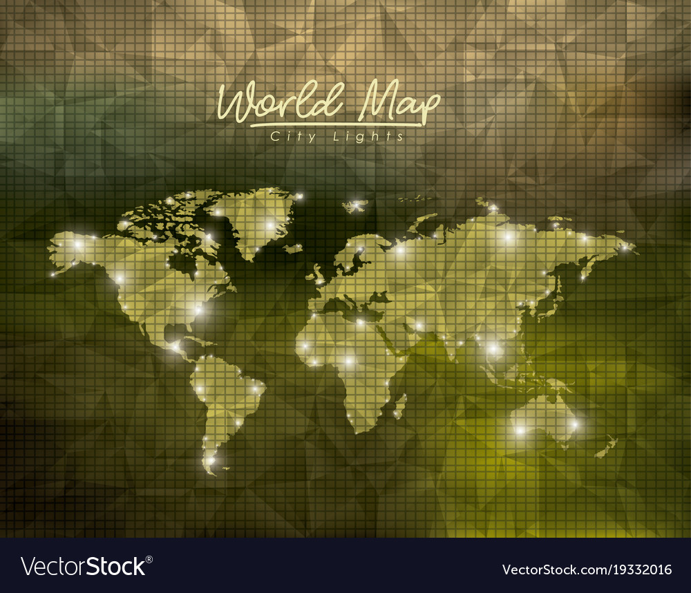 World map city lights in green polygon shape vector image on vectorstock gumiabroncs Images