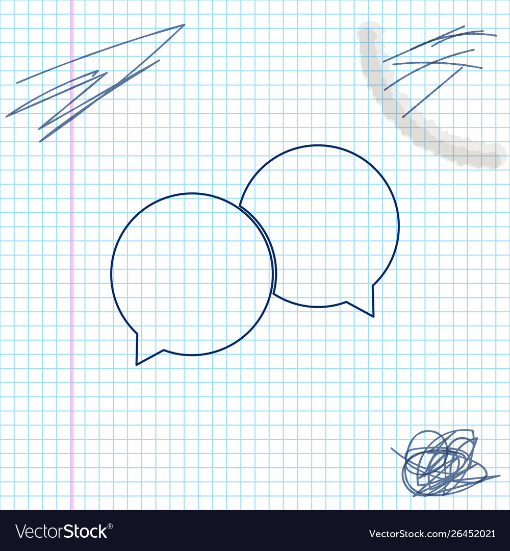 Blank speech bubbles line sketch icon isolated on