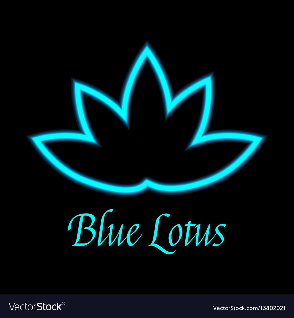 Blue Lotus Flower Logo Icon Royalty Free Vector Image