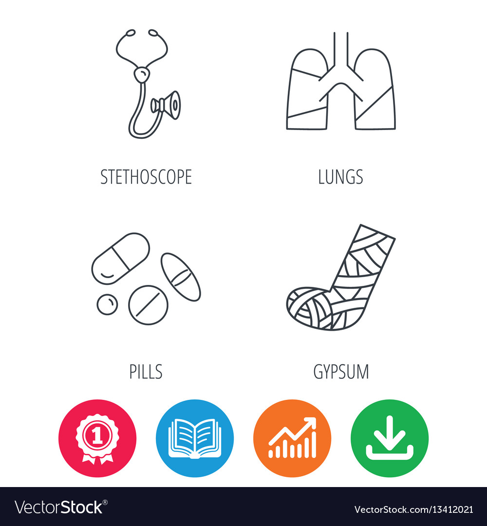 Broken foot lungs and medical pills icons