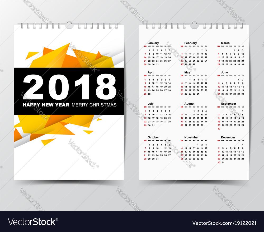 Calendar template for 2018 year