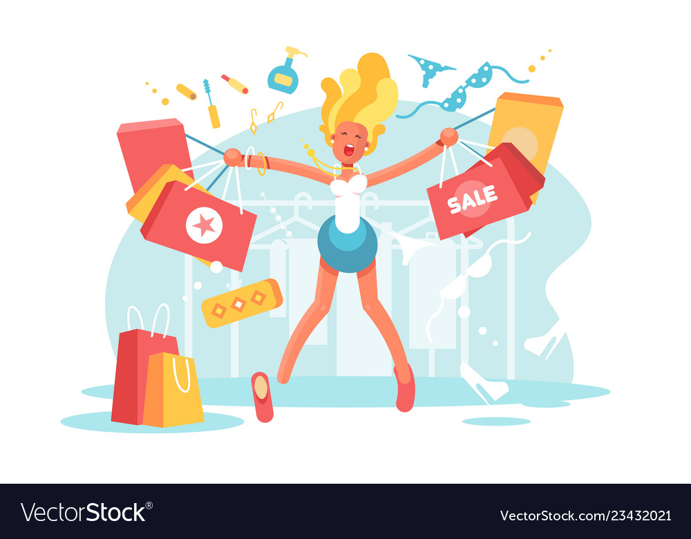Cartoon happy blonde with shopping bags