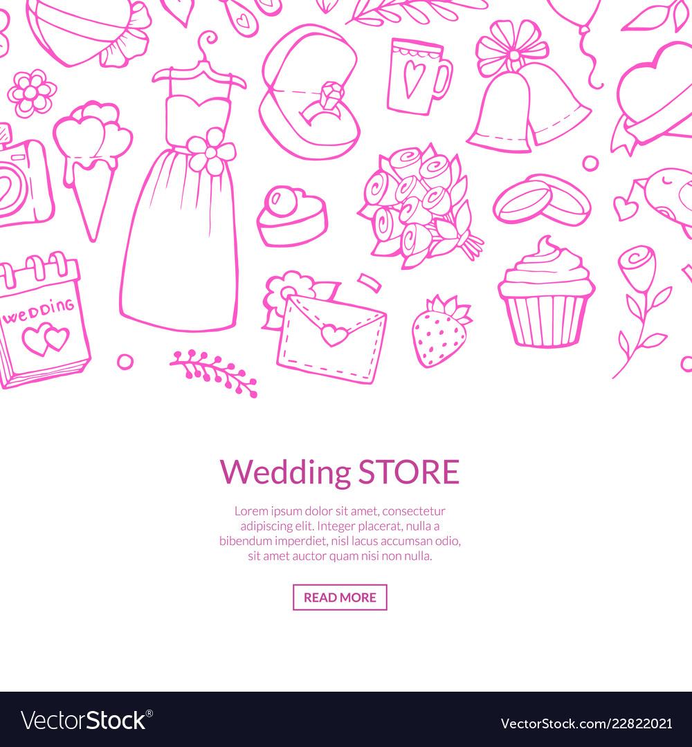 Doodle wedding elements background pink
