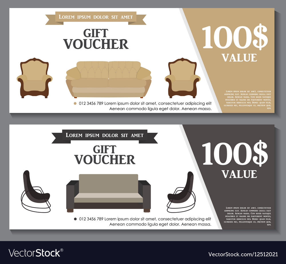Gift Voucher Template with variation of furniture