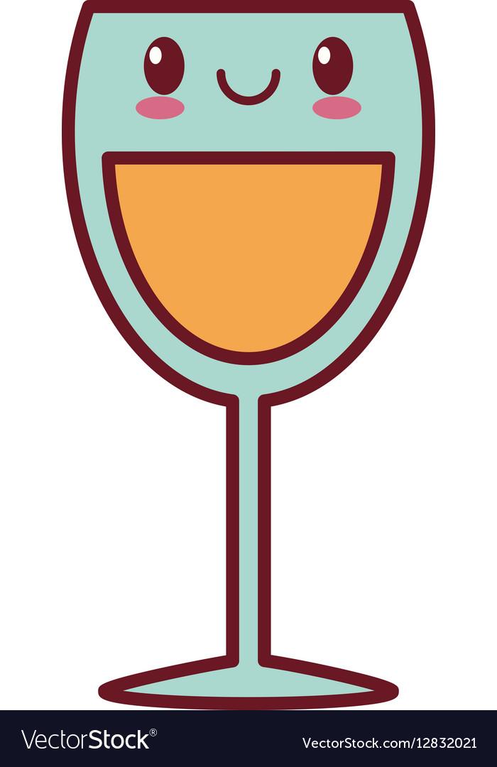 Kawaii love glass cup champagne valentine vector image