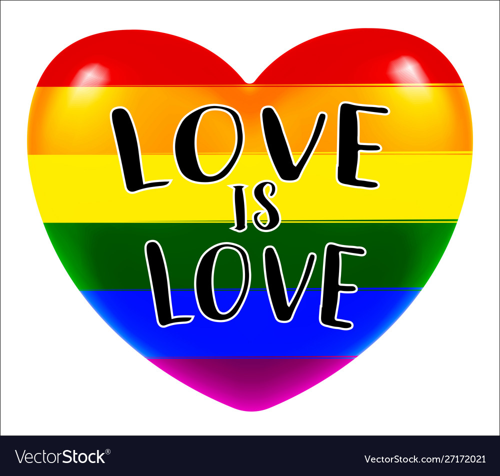 Lgbt love is love heart on white background