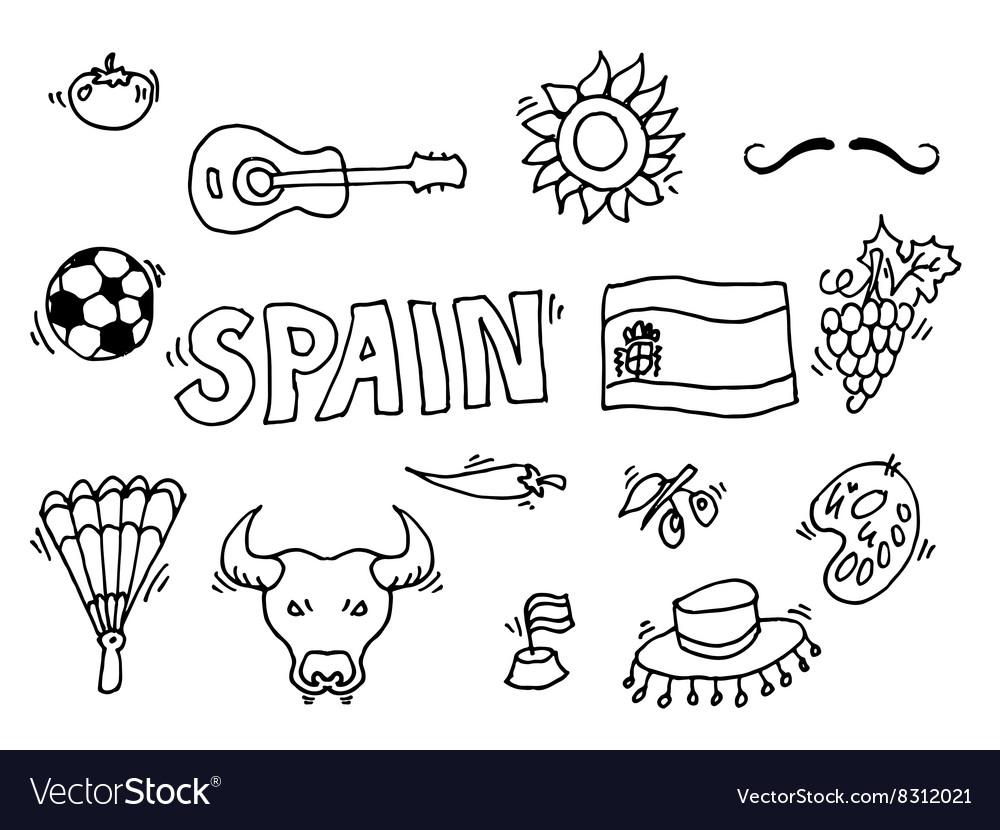 Love spain doodles symbols of spain