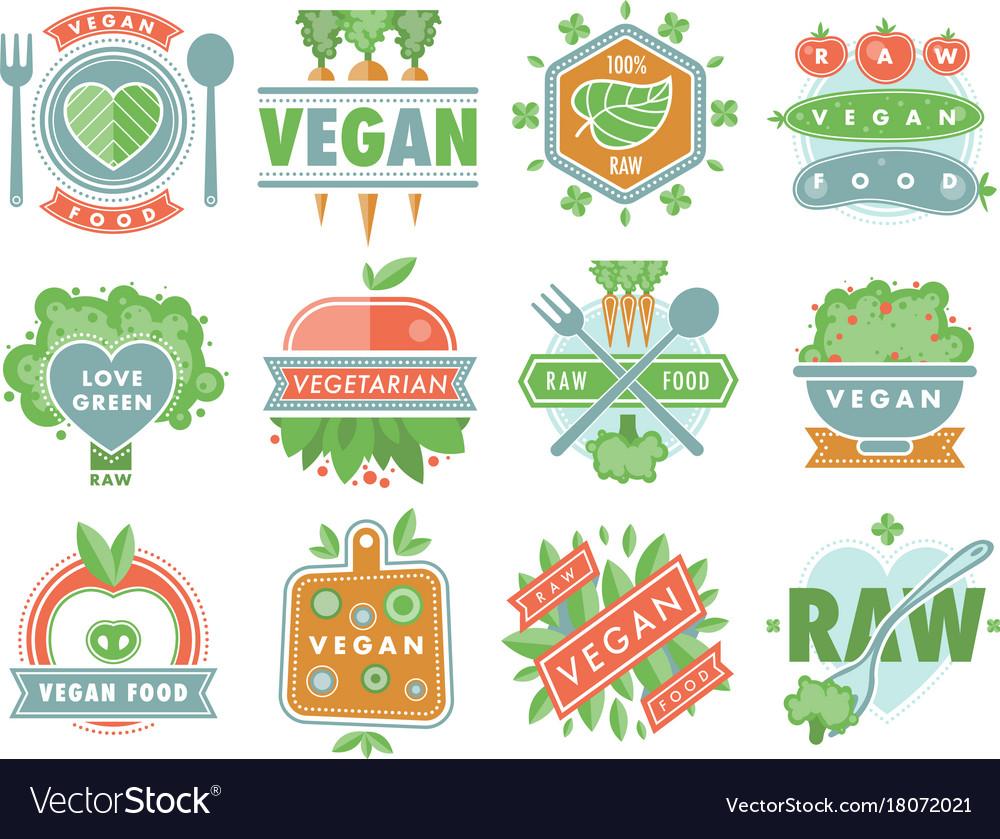 Organic Vegan Healthy Food Eco Restaurant Logo Vector Image