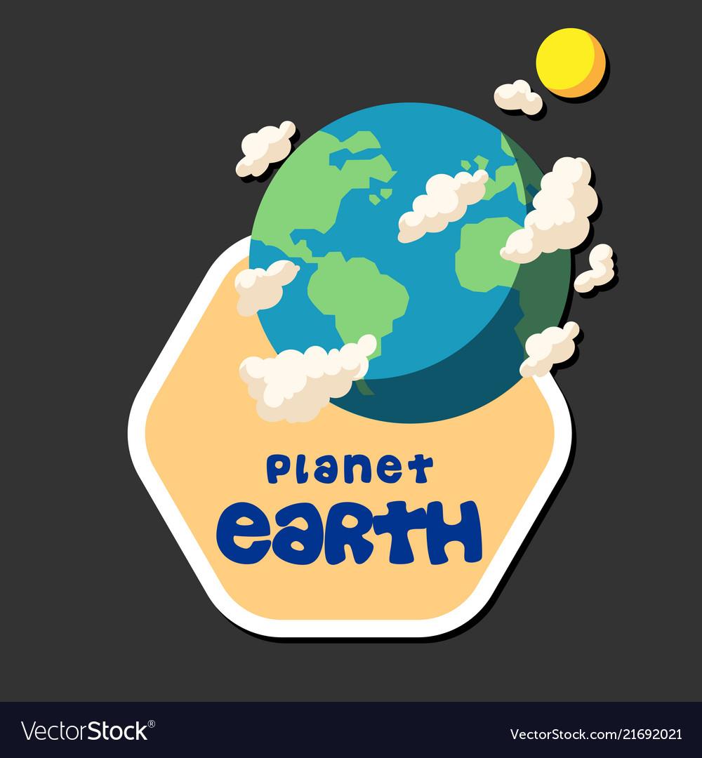 Planet earth design hexagon frame background