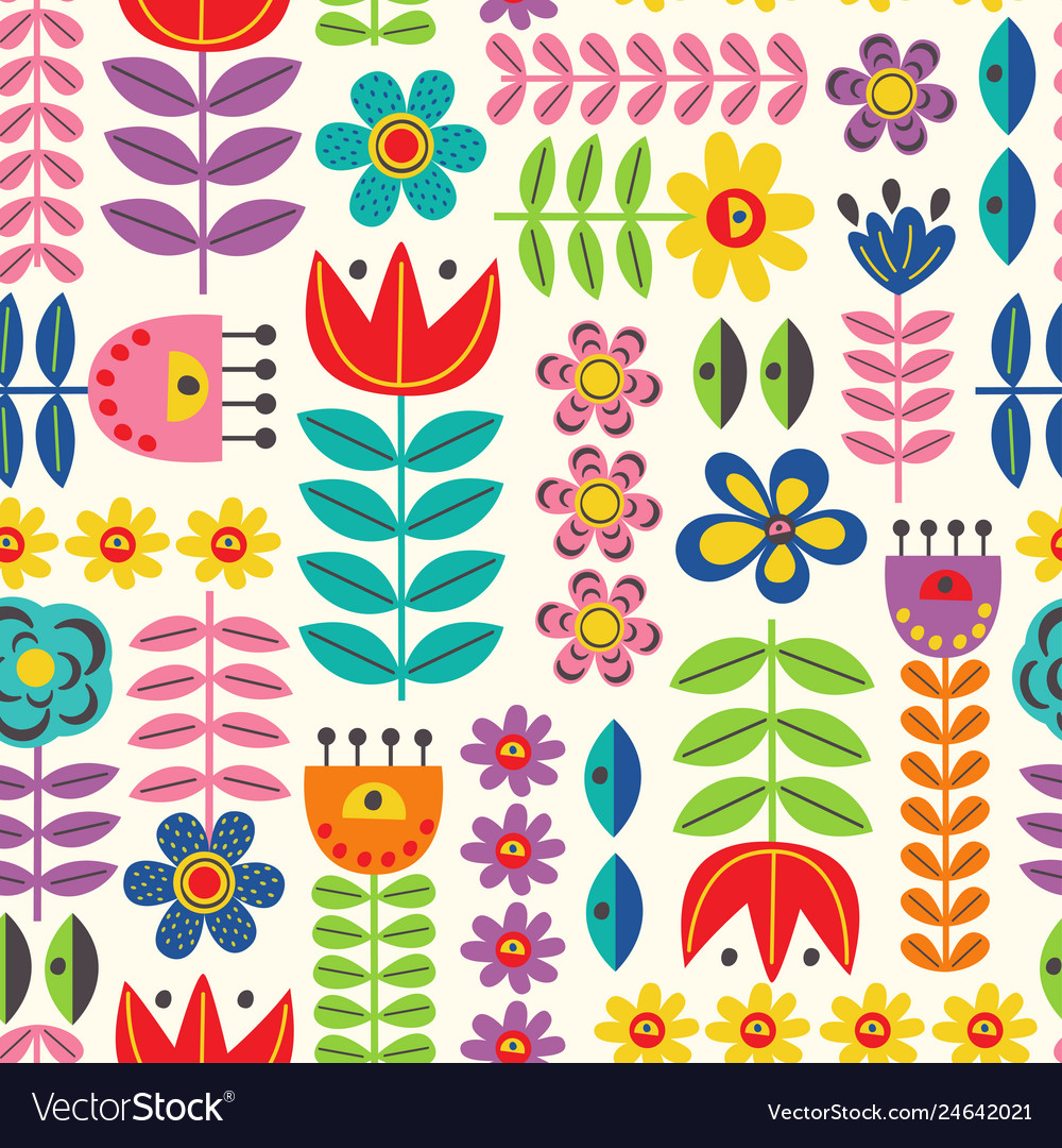 Seamless pattern with retro style flowers