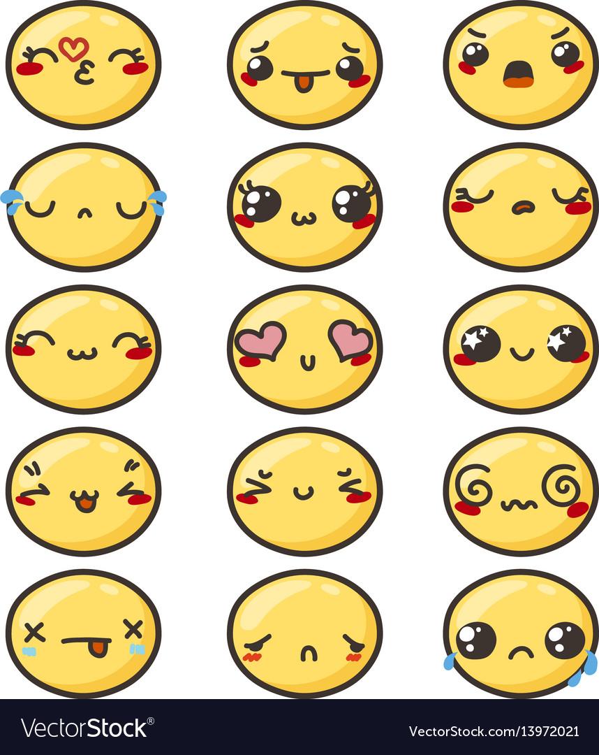 Set of cute lovely kawaii emoticon vector image