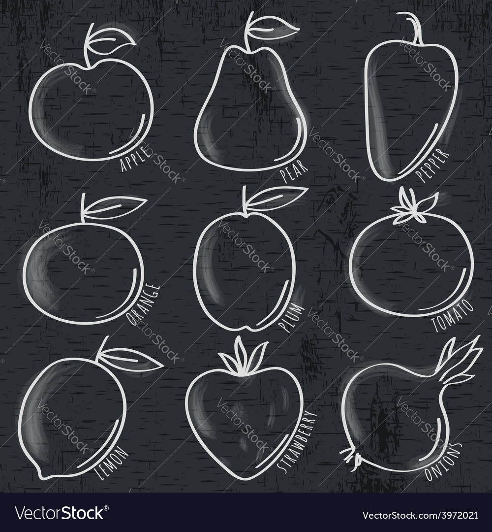 Set of organic vegetable and fruit on blackboard