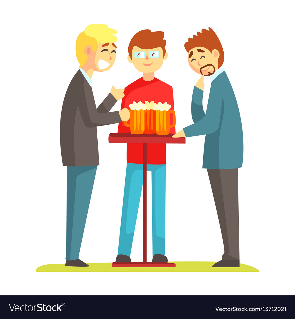 Three friends discussing their life drinking beer vector image