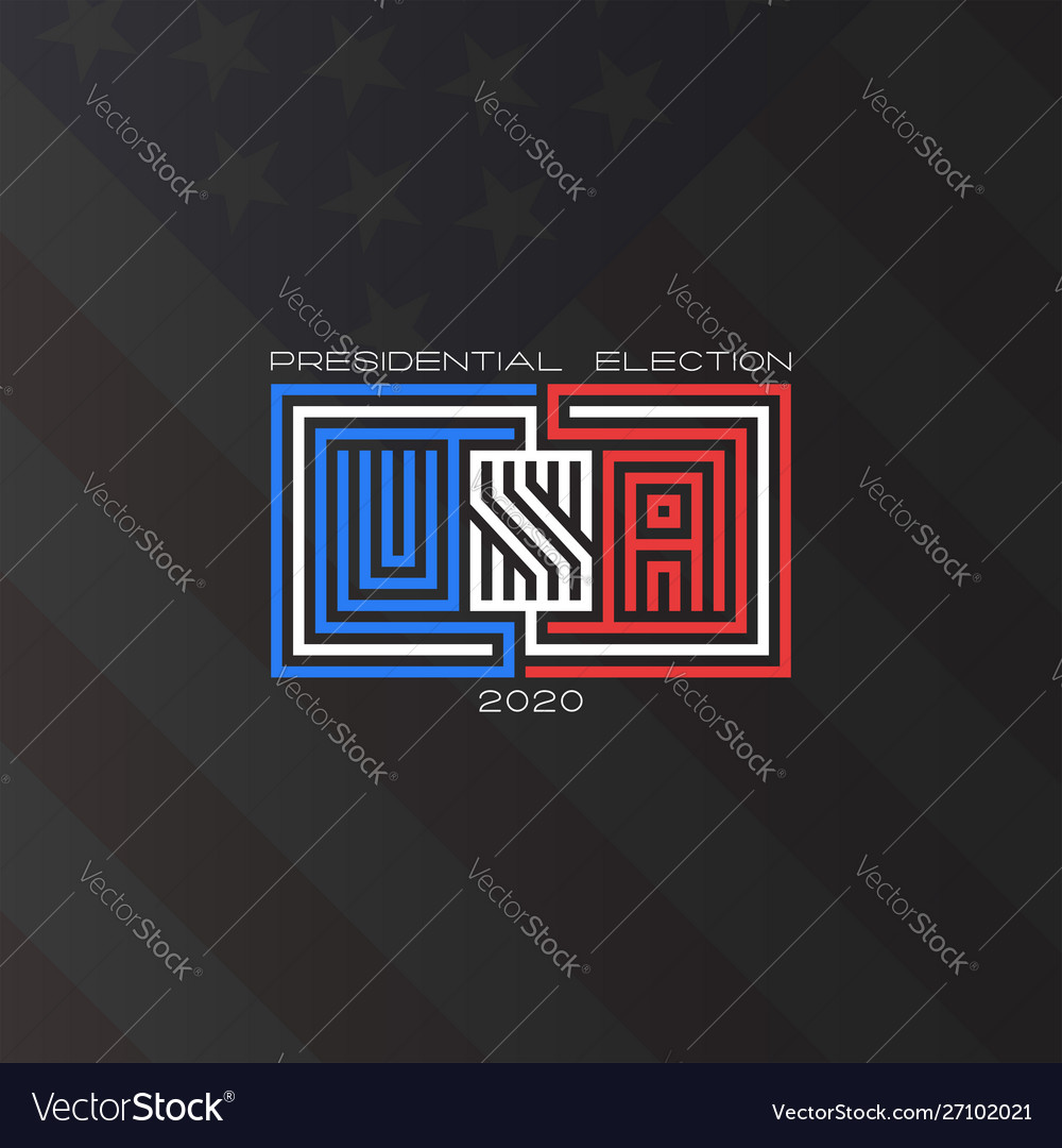 Usa presidential election 2020 text american flag