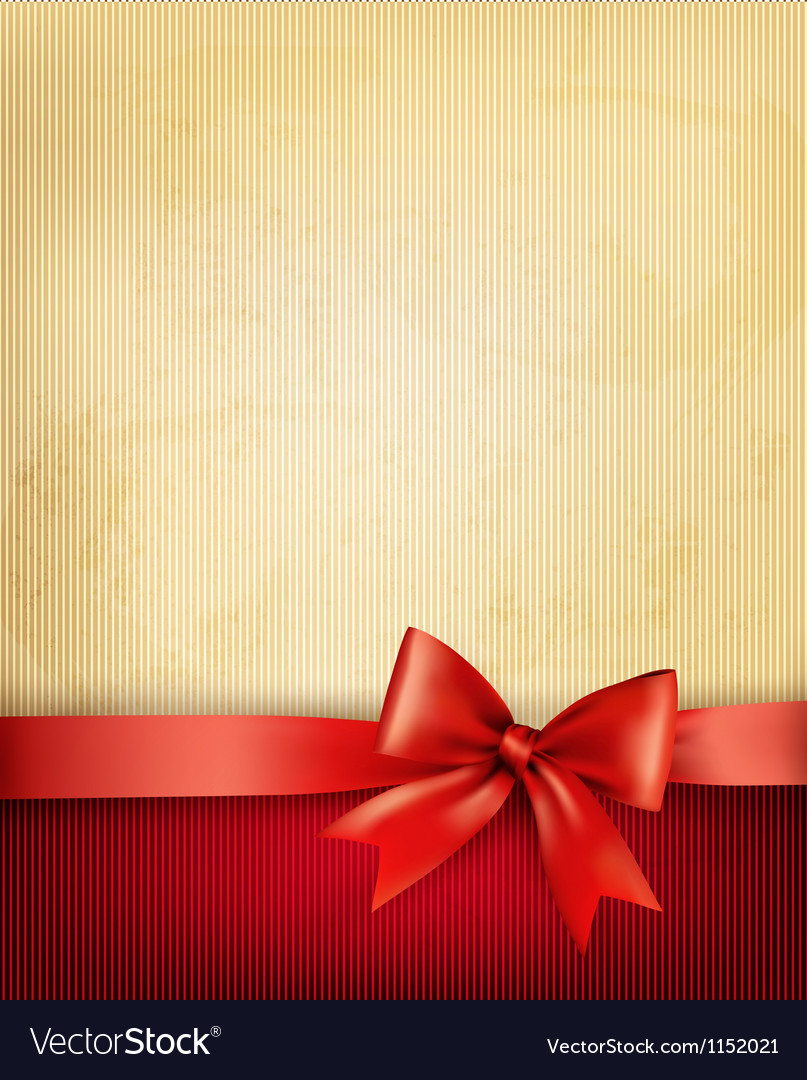 Vintage background with red gift bow and ribbon on vintage background with red gift bow and ribbon on vector image negle Images