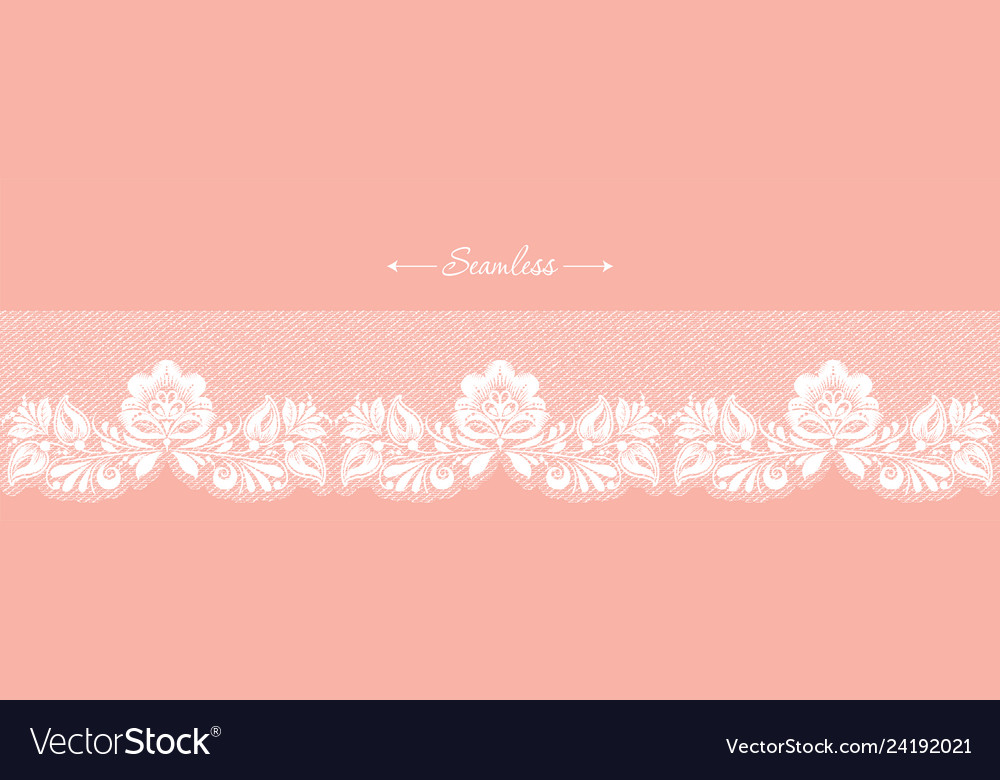 Vintage coral floral seamless lace trim header