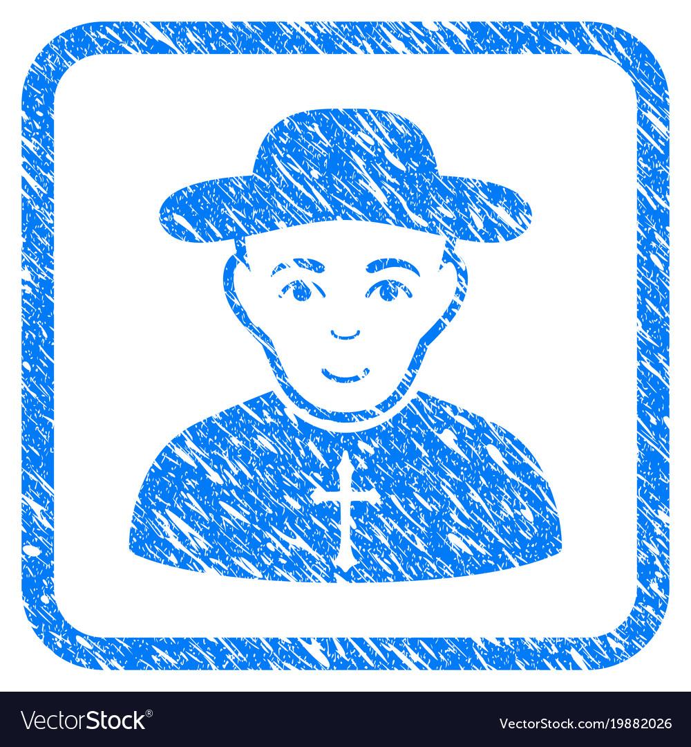 Christian priest framed stamp