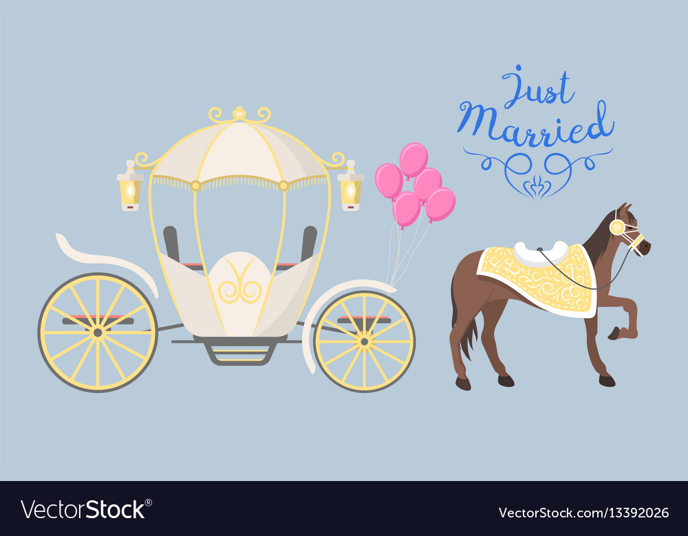 Fairy tale vintage carriage decoration with cute