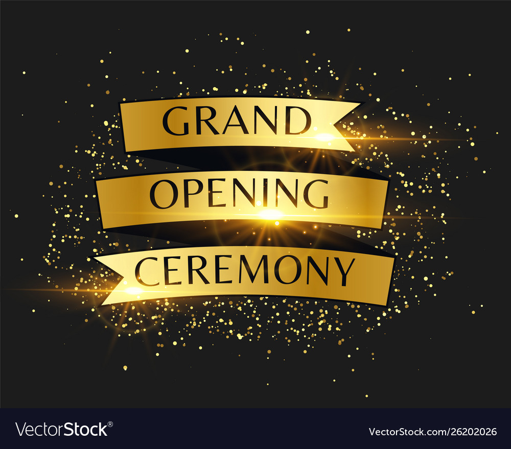 Grand opening ceremony golden invitation