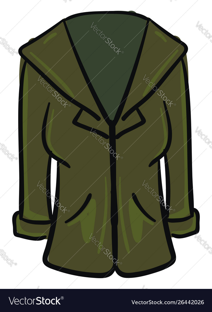 Green coat on white background