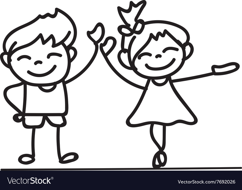 Hand Drawings Cartoon Happy Kid Happiness Concept Vector Image