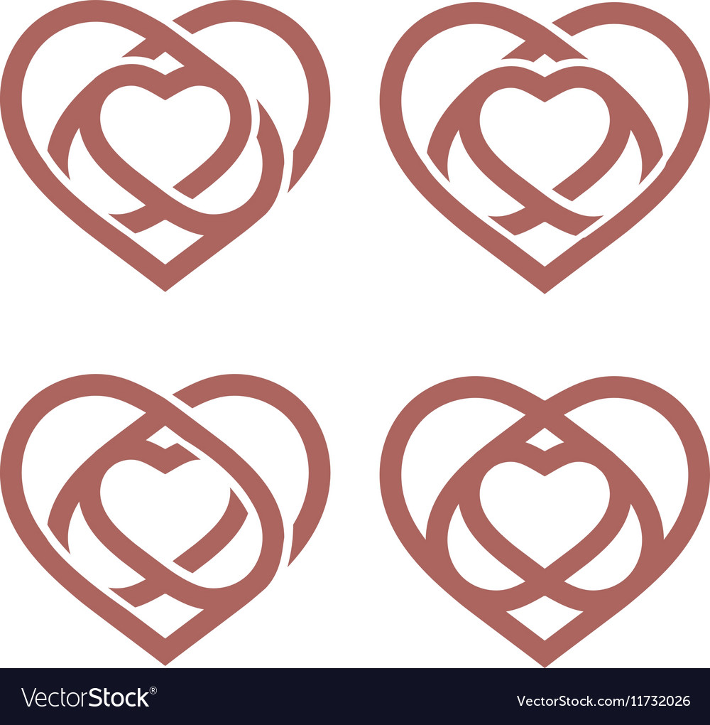 Isolated abstract monoline heart logo set Love