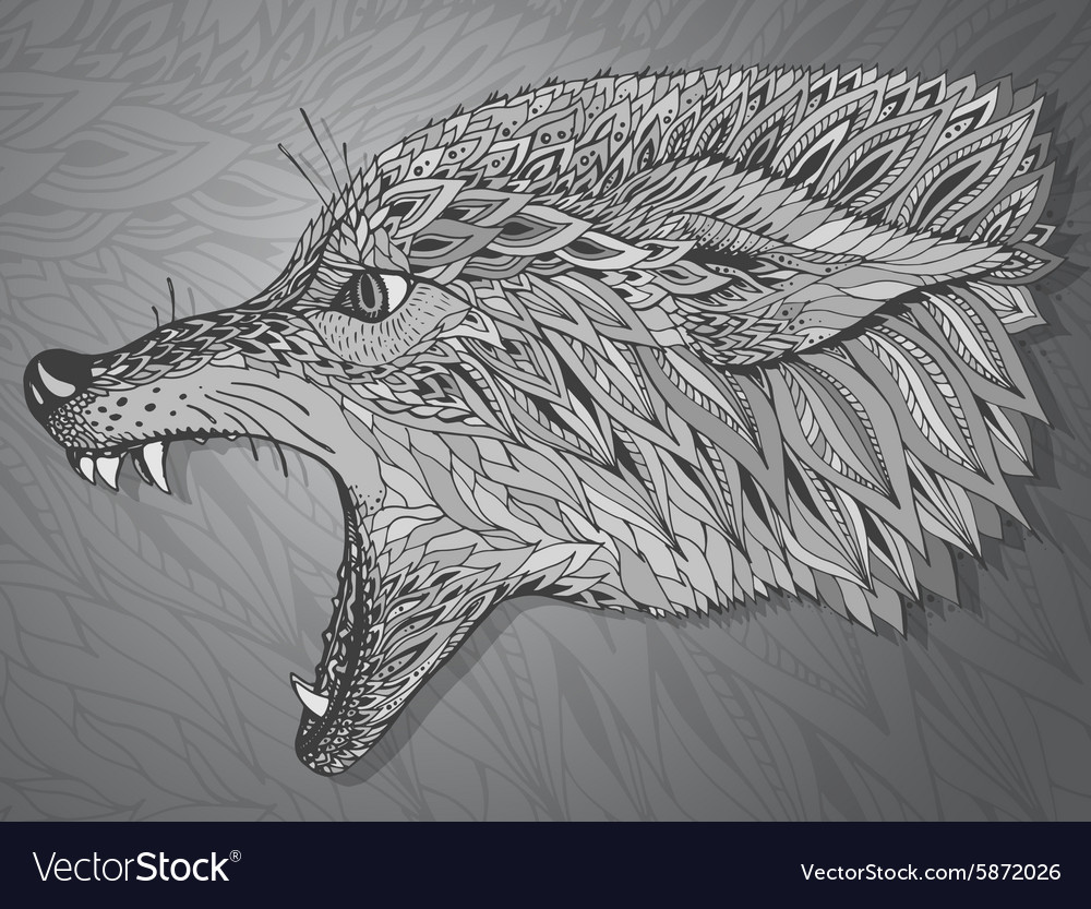 Patterned head of the wolf Tribal ethnic totem