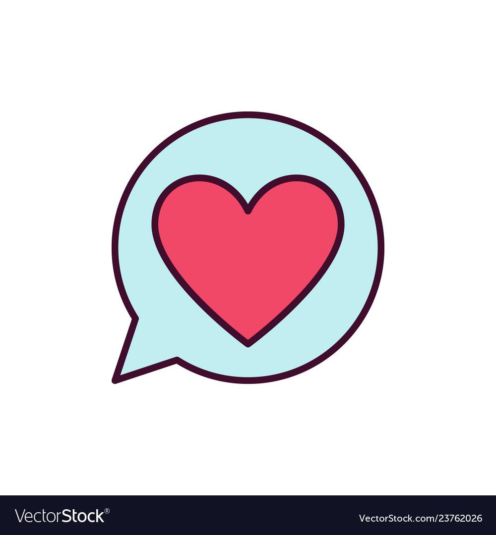 Red heart in speech bubble icon love