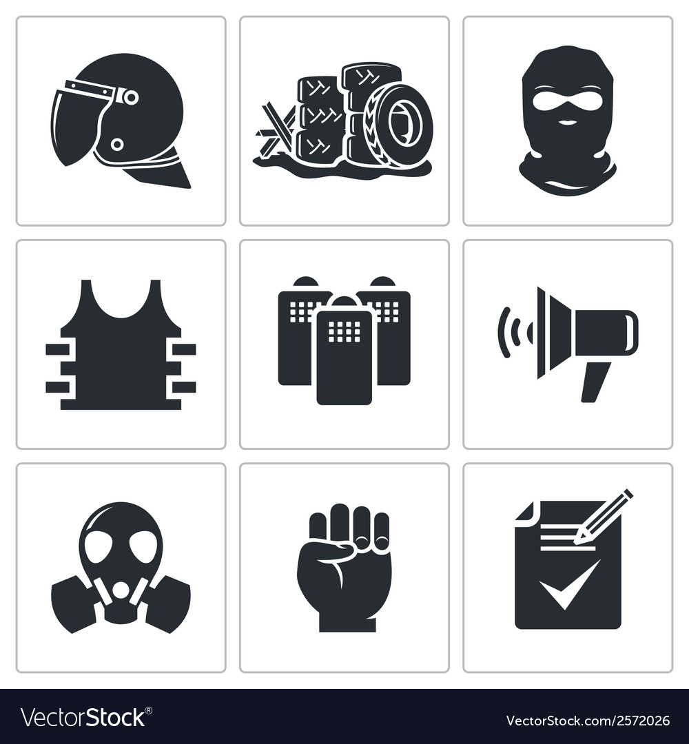 riots in the street icons set royalty free vector image