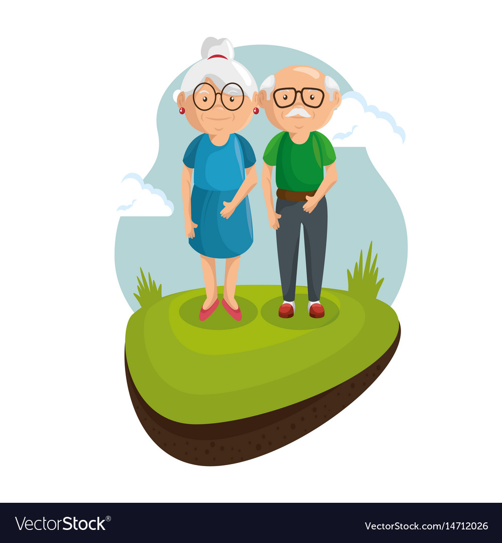 Standing old couple design vector image