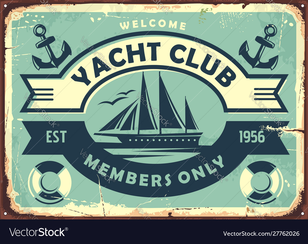 Yacht club sign design with sailboat