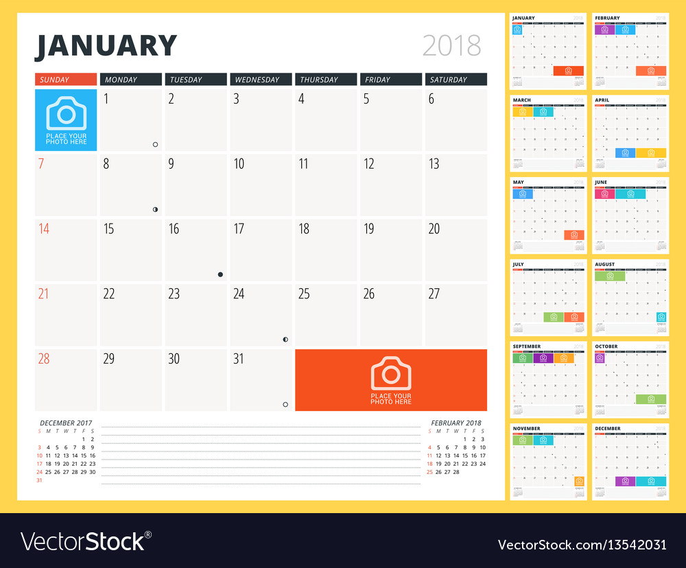 Calendar planner for 2018 year design template