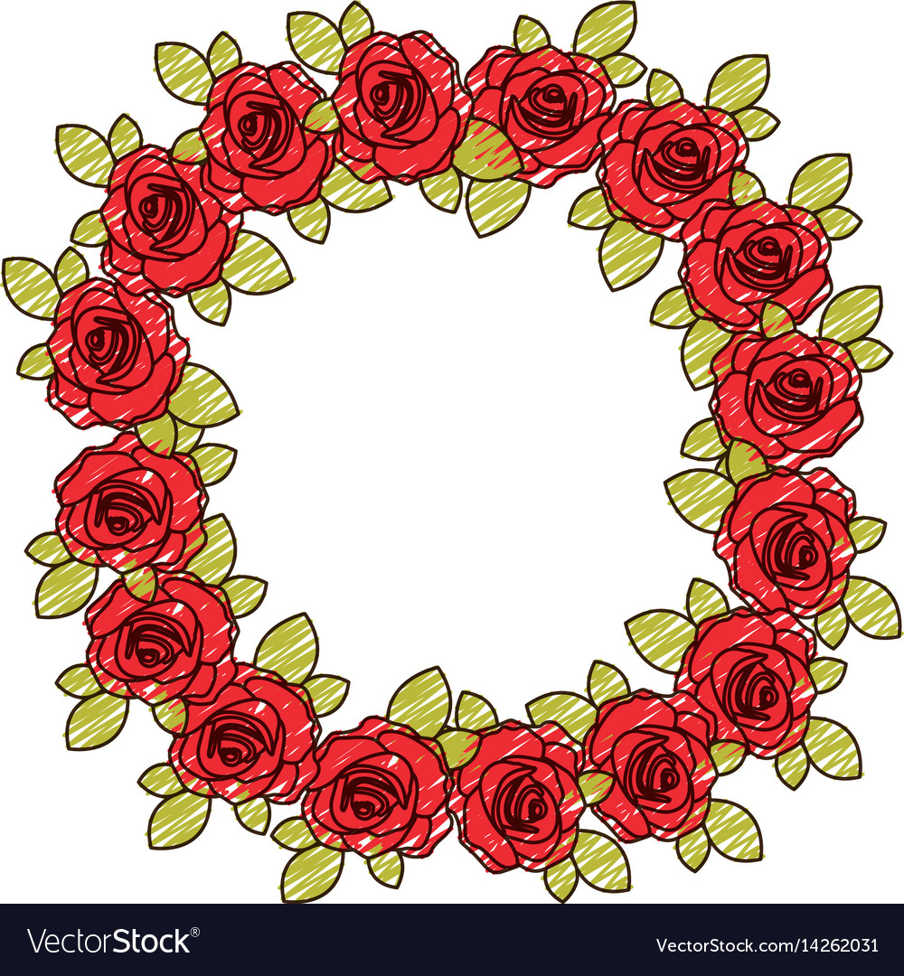 Color pencil drawing of crown flowered red roses Vector Image