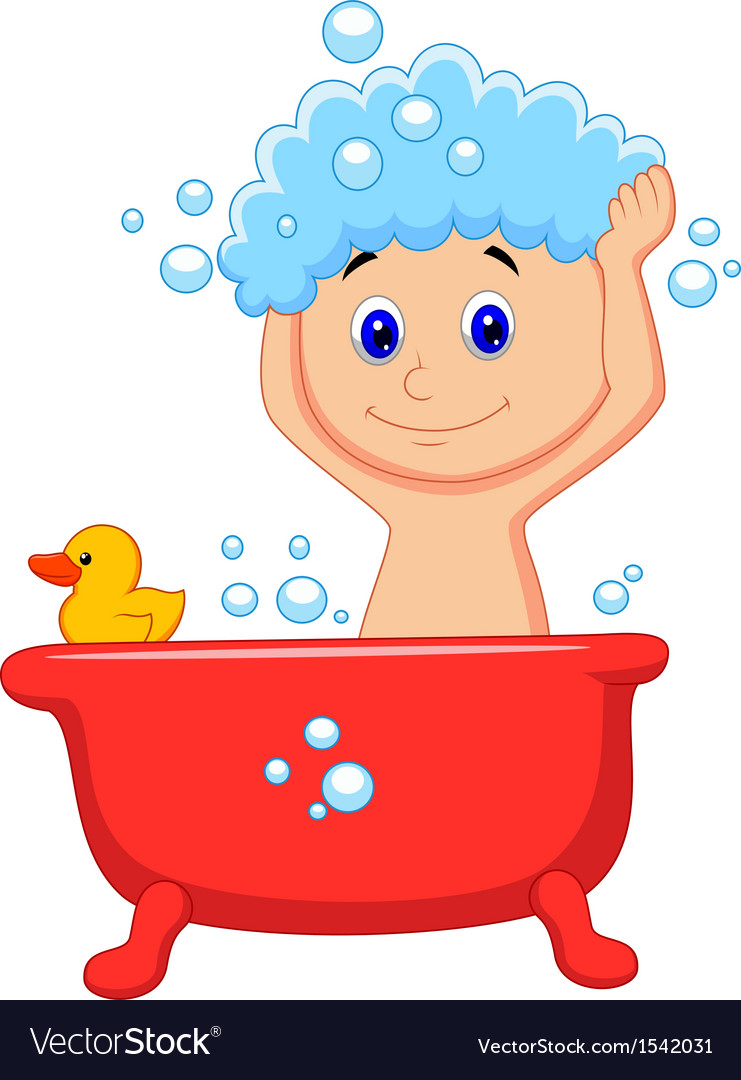 Cute Cartoon Boy Having Bath Royalty Free Vector Image