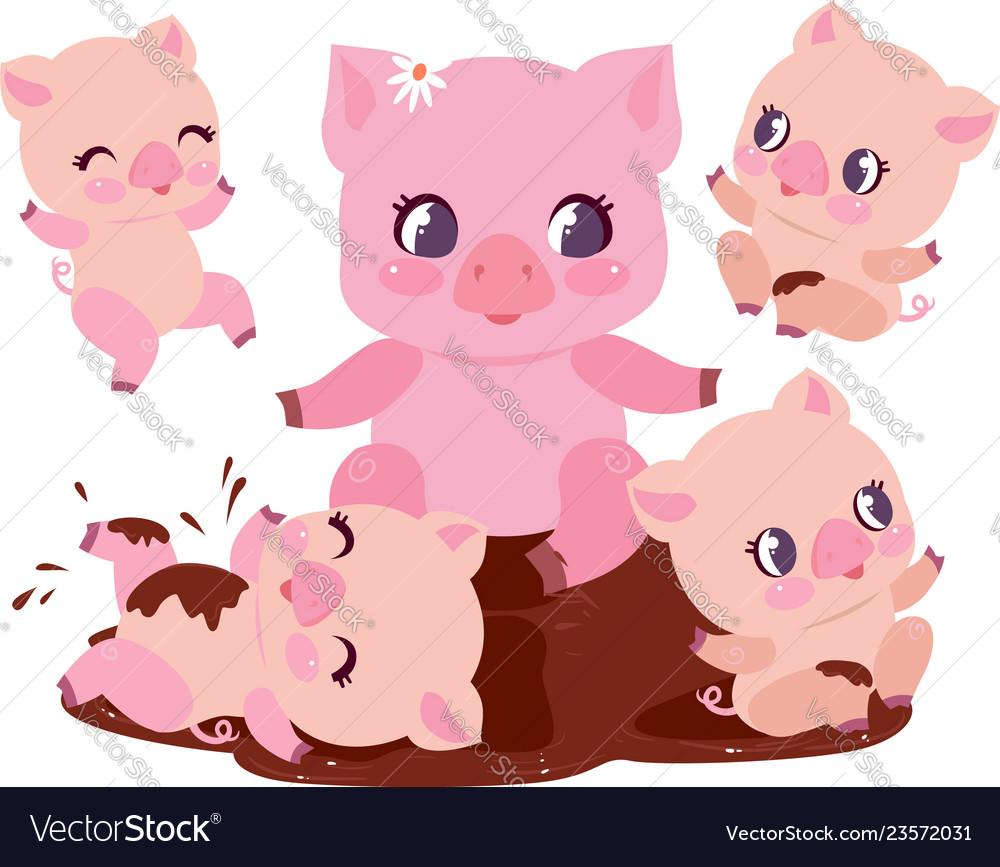 Cute pig family bathe dirt puddle flat